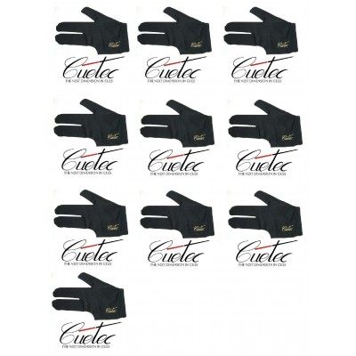 Lot of 10 Cuetec Black Left Hand Glove Half Fingers
