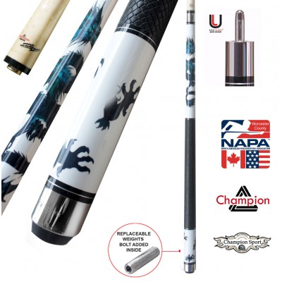 Black Friday Deal! Champion Dragon Pool Cue Stick with Predator Uniloc Joint, Low Deflection Shaft, Champion Sport Co Billiards Glove