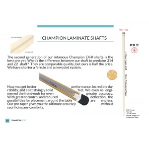 Laminate Shaft(EX-II Professional 10 Piece) For the DL, LL, NR  Fury Pool cue Series and Champion sport Spider cue(12mm)