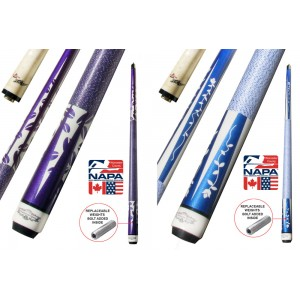 Champion Blue or Purple Pool Cue Stick with Low Deflection Shaft, Champion Glove